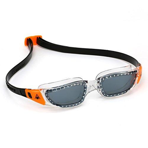 Aqua Sphere Kameleon Swim Goggles with Smoke Lens (Clear Orange). UV Protection Anti-Fog Swimming Goggles for Adults