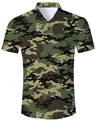 Camisa 3D Camuflaje Casual para Hombre Camisa Colorida de Manga Corta Camisa Hawaiana para Hombre Hawaiana para Hombre Camisa enrrollada M