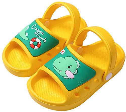 SMajong Kid's Garden Clogs Boys Girls Lightweight Open Toe Beach Pool Slides Sandals Toddler Non-Slip Summer Slippers Water Shoes,Yellow,6-6.5 Toddler.