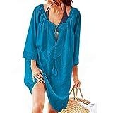 Tyidalin Mini Abito da Spiaggia Donna Mare Copricostume Corto Estivo Parei Tunica Copri Costume (Blu Scuro)