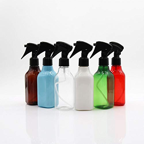 200 ml carré PET déclencheur flacon pulvérisateur nettoyant déodorant sous-bouteille pour huile essentielle, eau, cuisine, salle de bain et nettoyage-Buse solide bleu + blanc