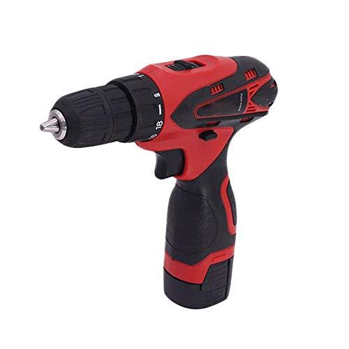 Rechargeable perceuse à main, qualité industrielle tournevis électrique d'outils à main, Facile à utiliser (Color : Red)