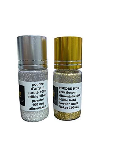 Sim Gold Leaf 637913637803 Pulver, Silber Gold, 200mg, 2 Piece