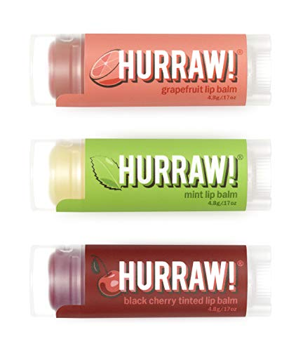 Hurraw! Grapefruit, Mint, Black Cherry Tinted Lip Balms, 3 Pack Bundle: Organic, Certified Vegan, Cruelty and Gluten Free. Non-GMO, 100% Natural. Bee, Shea, Soy & Palm Free. Made in USA