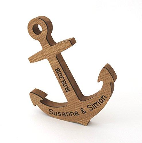 Anker mit Namen und Datum aus Holz mit Gravur zur Hochzeit, personalisiertes Geschenk für das Brautpaar Hochzeitsgeschenk: Eiche
