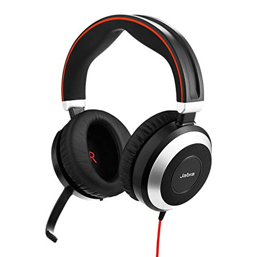 Jabra Evolve 80 UC Stereo Over-Ear Headset – Unified Communications Kopfhörer mit aktivem Noise-Cancelling – USB-C Kabel und 3,5 mm Klinke – schwarz