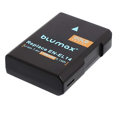 Batería Blumax edición ORO para Nikon EN-EL14 / EN-EL14a 1300mAh batería de repuesto para Nikon D3100 D3200 D3300 D3400 D5100 D5200 D5300 D5500 D7200