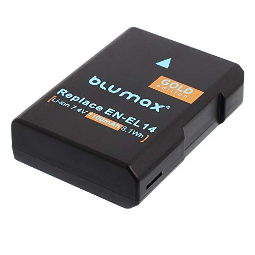 Blumax Gold Edition Akku 1300mAh für Nikon D5300 D3200 D3300 D3400 D5100 D5200 D3100 D5500 D5600 und Coolpix P7800 P7700 - ersetzt : EN-EL14 EN-EL14a