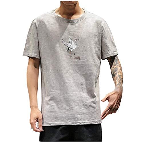 Herren T-Shirt Luotuo Mode Chinesischer Stil Bettwäsche aus Baumwolle Tops 2019 Sommer Drucken Rundhals Kurzarm Freizeit Sportshirt für Jeden Tag Fitness Outdoor