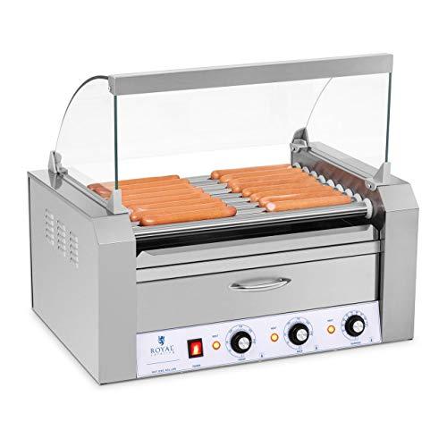 Royal Catering - Hot Dog Grill Hot Dog Maschine (9 Rollen, Edelstahl, 2.200 W, 2 Heizzonen, herausnehmbare Fettauffangschublade, Wärmeschublade, 16 Würstchen, mit Hartglasabdeckung)