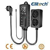 Elitech STC-1000Pro Dual Relay 220v Socket Termostato Digital con Sonda, Controlador de Temperatura de Enfriamiento y Calefacción, Certificado CE, Carcasa de ABS, la Clasificación de Fuego más Alta V0