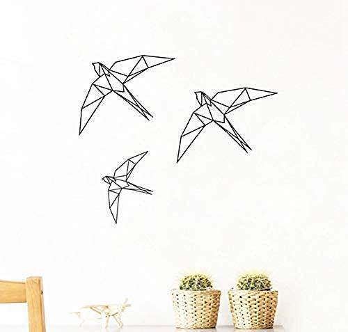 Tatuajes de pared decoración pegatinas de pared pájaro de origami pájaro geométrico animal pájaro volador sala de estar habitación de los niños arte natural moderno 50X42Cm