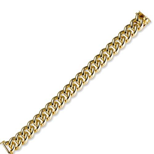 14mm Armband Armkette Rund-Panzerarmband aus 585 Gold Gelbgold massiv, 21cm