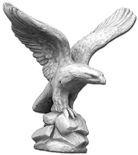 gartendekoparadies.de Massiver Stein - Adler Vogel Steinadler aus Steinguss frostfest (Grau)