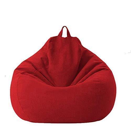 Chytaii Fundas para saco de algodón y lino, saco para sofá, sofá o sillón, juego para niños, para interior y salón, sin relleno, gris oscuro, 80 x 90 cm
