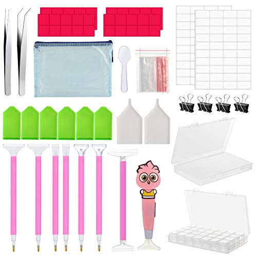 Gobesty 5D Diamond Painting Accessories, 166pcs Diamond Art Tool with Diamond Painting Pen Tool, Glue Clay, Storage Boxes, Embroidery Accessories for Nail Art and DIY Art Craft
