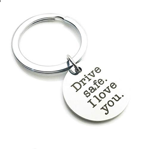 Aimrio Joyería Llavero Anillo Acero Inoxidable Grabado Drive Safe I Love You Redondo Etiqueta Plata Llavero