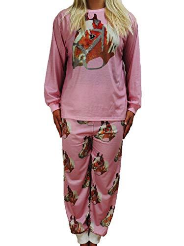 Toller Mädchen Schlafanzug Pyjama in den Größen 140-188 Pferd (140-146)