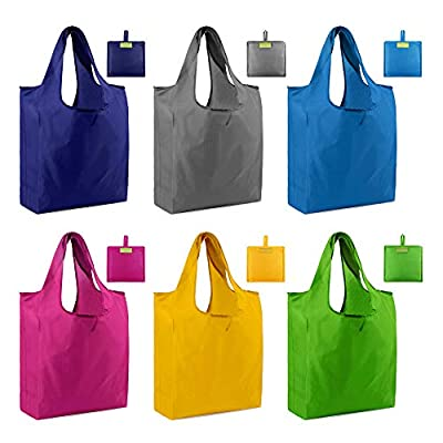 Reusable Tote Bags Shopping Grocery Bags with Pouch 6 Pack Gift Bags Ripstop 50LBS Large Machine Washable Waterproof Eco-Friendly Sturdy Lightweight Royal Red Green Yellow Teal Gray