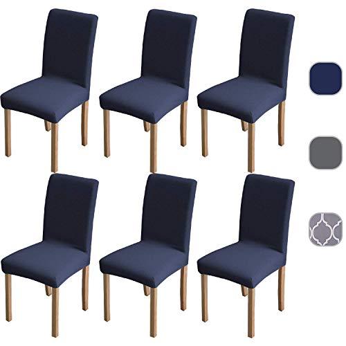 6 x superweiche Stretch-Stuhlbezüge, abnehmbare, waschbare Schonbezüge, hochelastischer Esszimmerstuhlbezug, Spandex-Stuhlschutz mit 5 gratis Filzbodenschutz dunkelblau