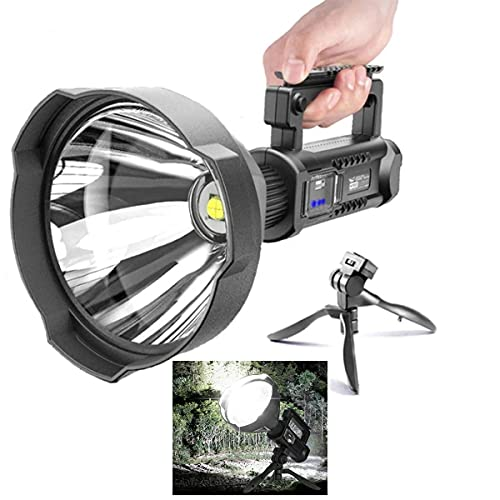 Rechargeable Spotlight Flashlight High Lumens,90000 Lumen LED Super Bright Searchlight,IPX5 Waterproof 4 Modes Handheld Spotlight,with Tripod and USB Output,for Hunting, Hiking, Camping with