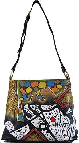 Magnifique Las Vegas Leather Hand Painted Hobo Handbag