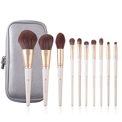 WHBQ Pinceau De Maquillage Ensemble Blanc Ivoire Exquis De Sac De Rangement Personnalisé pour Outils en Cuir pour Débutants pour Professionnels Et Débutants 10 Paquets