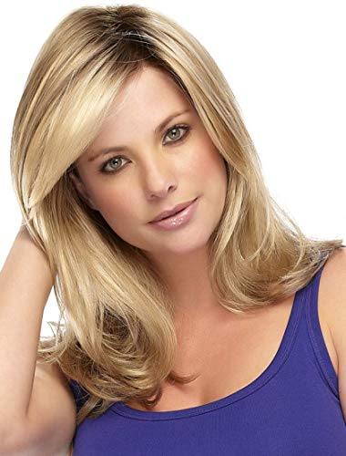 Kalyss Ladies Ombre Blonde Dark Brown Roots Long Curly Wavy Heat Resistant Synthetic Hair Wig for Women Blonde Wig with Bangs