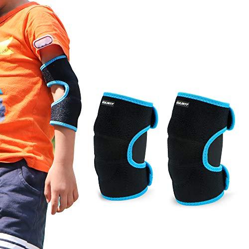 EULANT Acolchada Coderas para Niños, Ajustable Protector Codo para Baile Fútbol Voleibol Baloncesto Ciclismo Patinetes Skateboarding, Negro/Azul S