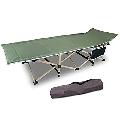 CAMPMOON Heavy Duty Camping Cots for Adults Most Comfortable, Sturdy Folding Sleeping Cot for Camping Outdoor Travel, Portable with Carry Bag, Green