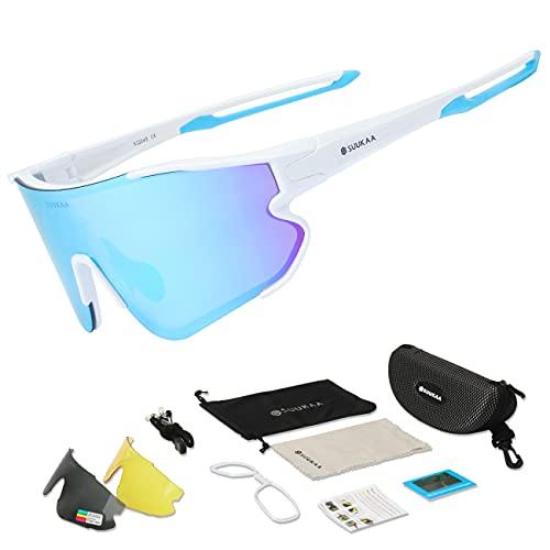 SUUKAA Ciclismo Gafas CE Certificación Polarizadas con 3 Lentes Intercambiables UV 400 Gafas,Corriendo,Moto,MTB Bicicleta Montaña,Camping y Actividades al Aire Libre para Hombres y Mujeres TR-90
