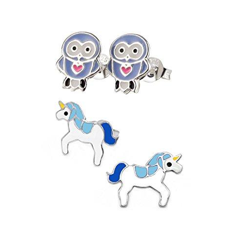 SL-Silver Set aus kinderohr Anelli Blu Gufo e Unicorno 925Argento in confezione regalo