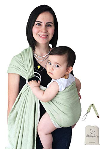 Lightweight Baby Carrier Wrap Ring Sling | 2 Color in 1 Product Baby Sling | Perfect Baby Shower Gifts, Luxury Soft and Breathable Fabric | Newborns, Infants and Toddlers | Adjustable Nursing Cover