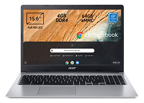 Acer Chromebook 315 CB315-3H-C7JF Notebook, PC Portatile, Processore Intel Celeron N4000, Ram 4GB DDR4, eMMC 64 GB, Display 15,6' Full HD LED LCD,Scheda Grafica Intel UHD 600, Chrome OS, Silver, [CB]