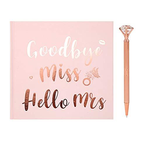 HOWAF Livre de Conseils pour la mariée, Goodbye Miss Hello Mrs EVJF Livre d'or Cadeau Souvenir de fête de Enterrement Vie Jeune Fille, Comprend Un Stylo, Or Rose