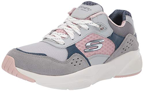 Skechers Meridian-Charted, Zapatillas Mujer, Multicolor (GYPK Gray & Navy Leather/Pink Mesh/Off White Trim), 41 EU