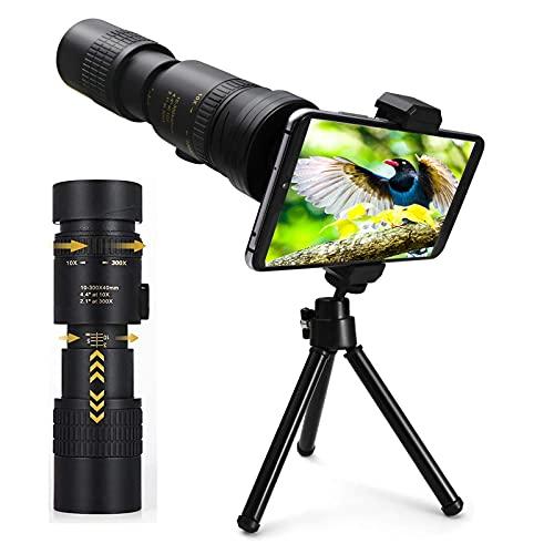 Telescopio monoculare 4K 10-30x40mm con supporto per smartphone e treppiede per adulti Bambini, cannocchiale monoculare HD impermeabile per caccia, campeggio, viaggi ed escursioni
