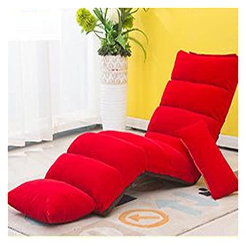 QILIYING Silla Lazy Sofa, Moderno sofá sillones reclinables for la Sala de Estar del Piso de Tatami Individual Softchair Bay Respaldo Silla by (Color : Big Red 175m, Type : One Seat)