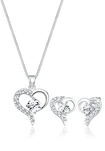 Elli Schmuckset Damen Herz Kristalle in 925 Sterling Silber