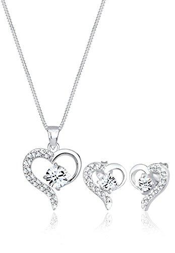 Elli Schmuckset Damen Herz mit Swarovski® Kristalle in 925 Sterling Silber
