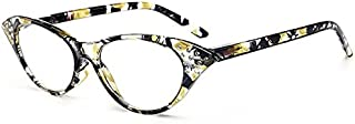 TT WARE Women Cat Eye Flower Frame Reading Glasses Pressure Reduce Presbyopic Glasses-Yellow-1.0