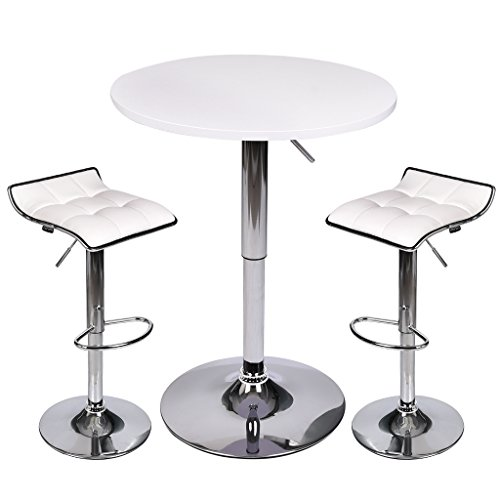Puluomis Set of 3 White Bar Table, with 2 Chrome Base Gas-Lift Barstool PU Leather Adjustable Swivel White Stools