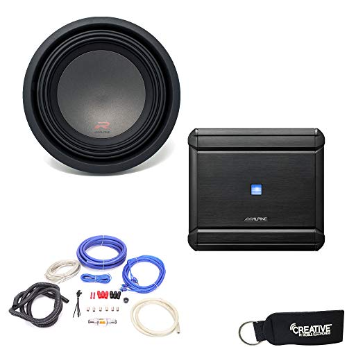 Alpine MRV-M500 Amplifier and a R-W10D4 R-Series 10-inch Dual 4 Ohm Subwoofer - Includes Wire kit