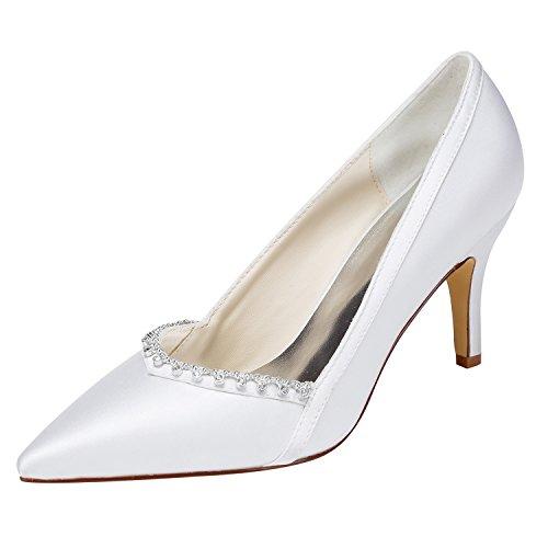 Emily Bridal Elfenbein Hochzeit Schuhe High Heel wies Slip-on Brautschuhe mit Strass (EU41, Weiß)