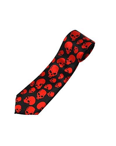 Zac's Alter Ego Crânes sur Cravate Noire - Rouge -