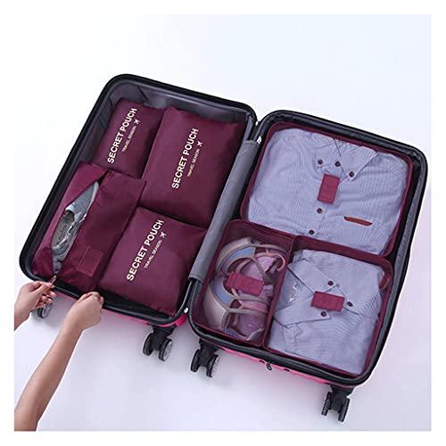 YBYWL 7 Set de Organizador de Equipaje, Organizadores de Viaje para Maletas, Impermeable Organizador de Maleta Bolsa para Ropa Sucia de Viaje,Cubos de Embalaje para Viaje(Color:Vino Rojo)