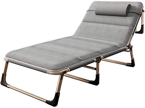 TPLIK Jardín sillas Plegables, jardín Mentira Tumbona de jardín Plegable Plegable Relax Silla de Playa baño de Sol con Almohadas y extraíble para Acampar Piscina Beach