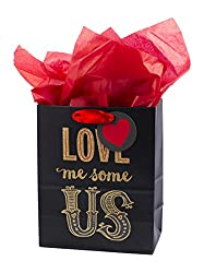 """Hallmark Mahogany 9"""" Medium Gift Bag with Tissue Paper (Love Me Some Us) for Anniversary, Valentines"""