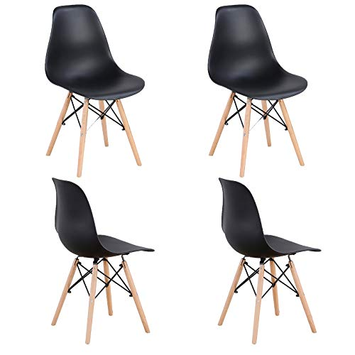 WV LeisureMaster Lot de 4 chaises de salle à manger en ABS avec pieds en bois Noir