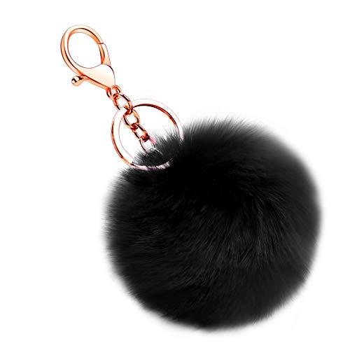 Soleebee Künstliche Kaninchenfell Keychain Flauschigen Ball Pom Pom Schlüsselanhänger Taschen Koffer Rucksäcke Zubehör Charm Auto Schlüsselanhänger Schlüsselring für Frauen Mädchen (Schwarz)
